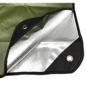 """Arcturus Heavy Duty Survival Blanket – Insulated Thermal Reflective Tarp - 60"""" x 82"""". All-Weather, Reusable Emergency Blanket for Car or Camping (Olive Green)"""