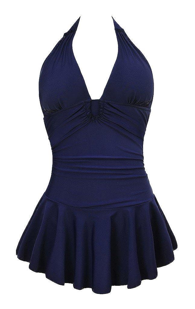 Winday Women's Plus-Size Flower Printing Shaping Body One Piece Swim Dresses Swimsuit