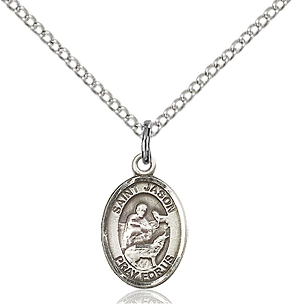 Sterling Silver St Jason Pendant with 18 Stainless Steel Lite Curb Chain Patron Saint of Those Named Jason