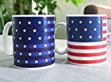 LIVDAT Magic Heat Sensitive America USA Flag Color Changing Magic Cup Coffee Mug Cup Stars Appear in the Night Sky (12 oz)