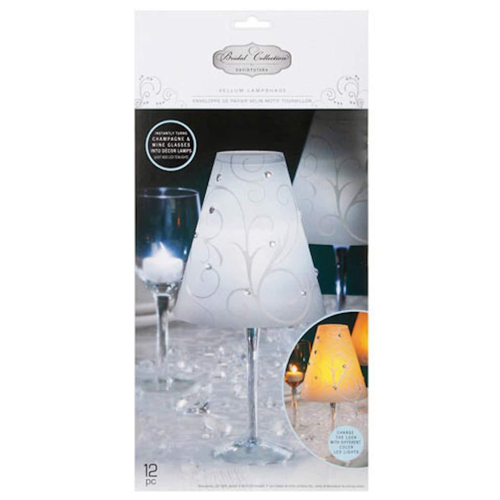 David Tutera 80 Wedding Vellum Lampshade Swirl Print Opaque White