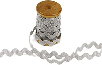 White 3 Yards of POLLY 5mm Rigid Ric-Rac Trim on a Wooden Spool