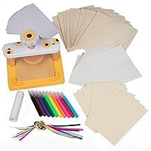 Wood Flower Press Kit - No Screws for Easier Crafting - Includes bookmark, ribbons, notecards, envelopes, markers, blotting papers, cardboards, glue stick)