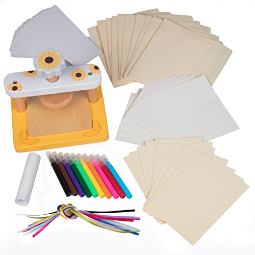 (Wood Flower Press Kit - No Screws for Easier Crafting - Includes Bookmark, Ribbons, notecards, envelopes, Markers, Blotting Papers, cardboards, Glue Stick)