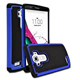 LG G4 Case, MagicMobile [Dual Armor Series] Hybrid Impact Resistant LG G4 Shockproof Tough Case Hard Rugged Plastic with Rubber Silicone Skin Protective Case for LG G4 - Black / Blue