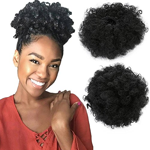 Armmu 8Inch Short Afro Kinky Curly Hair Updo Wrap Synthetic Hair Drawstring High Puff Ponytail Hair Extension Afro Bun for Natural Hair With 2 Clips(Black) by Armmu