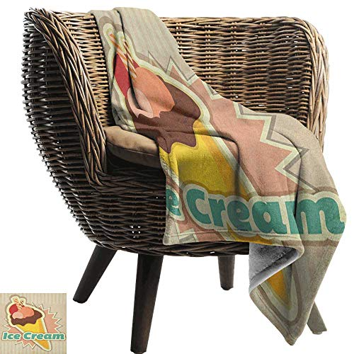 - Ice Cream,Throw Blanket,Vintage Ice Cream Pattern in Funky Tones with Retro Style Effects Illustration 70