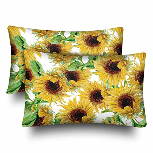 InterestPrint Watercolor Painted Yellow Sunflower White Pillow Cases Pillowcase Standard Size 20x30 Set of 2, Rectangle Pillow Covers Protector for Home Couch Sofa Bedding Decorative (Pillow Cases Sunflower)