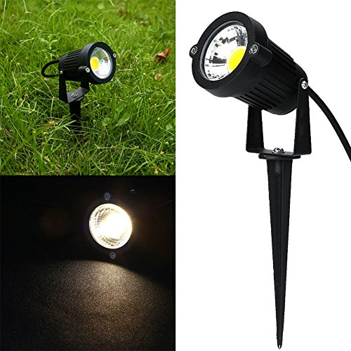 Keito 2pcs 5W LED Landscape Garden Wall Yard Path Pond Flood Spot Light Outdoor IP65 Lamp Warm White AC/DC 12V With Rod