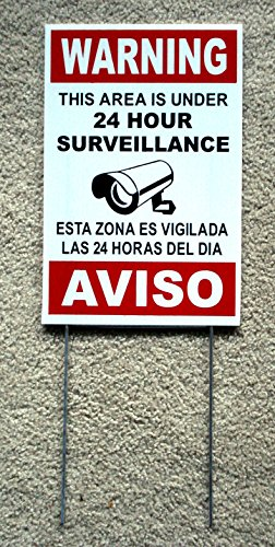 VINBOX Security Video Surveillance Warning 24 Hr Sign 8x12 Spanish English w/Stake Security Parking Only Business by NEW