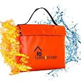 Fireproof Document Bag, Waterproof Resistant Silicone Coated Fiberglass VESTAGUARD XL Sturdy Fire Proof Bags For Your Safe Protect Your Cash Money and Files With Dual Zipper and Velcro Enclosure