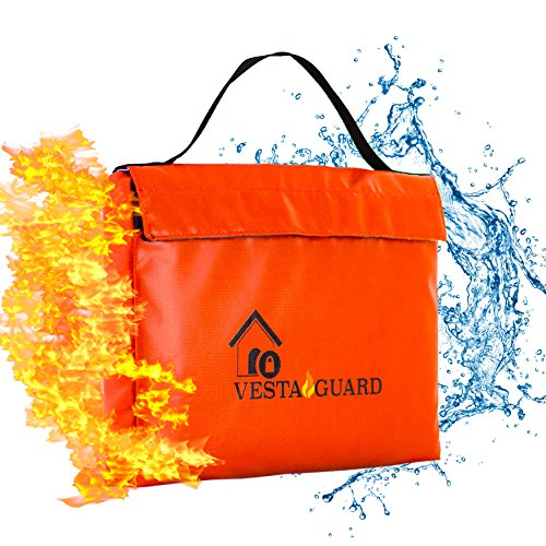 Fireproof Document Bag, Waterproof Resistant Silicone Coated Fiberglass VESTAGUARD XL Sturdy Fire Proof Bags For Your Safe Protect Your Cash Money and Files With Dual Zipper and Velcro Enclosure by Vesta Guard