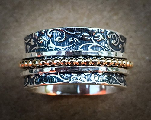 Weeding Ring Sterling Silver and Gold Filled ring Leaf Motif Spinner Ring Leaf Spinner Ring Meditation Ring Fidget Ring Worry Ring Triple Spinner Ring