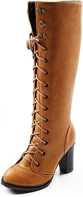 Hoxekle Woman Knee High Boots Zipper Buckle Round Toe Antislip Platform High Square Heel Winter Warm Riding Long Boots