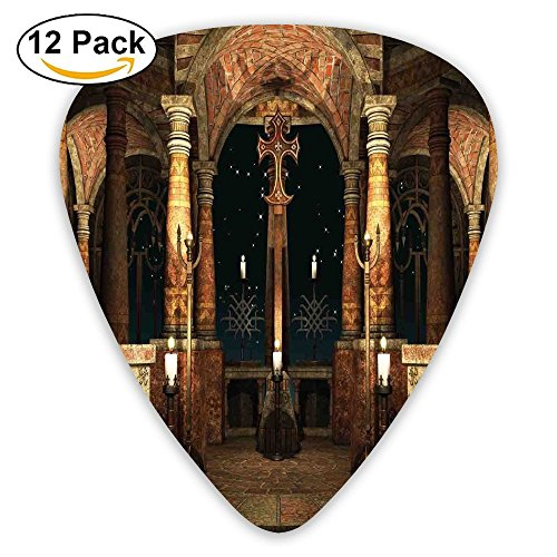(Newfood Ss Dark Mystic Ancient Hall With Pillars And Cross Dome Shrine Building Print Decorative Guitar Picks 12/Pack Set)