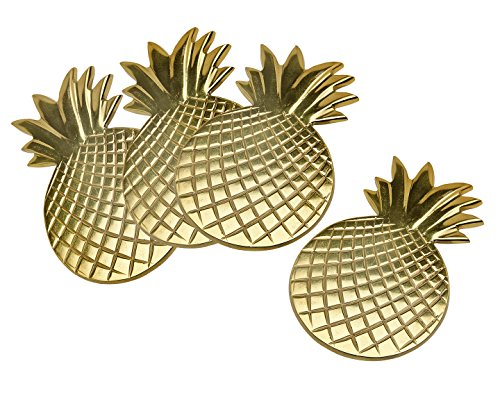 Coasters Pineapple - Godinger Silver Art S/4 Gold Pineapple Coasters