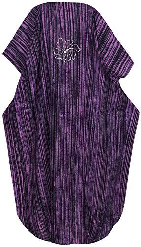 bagno costumi LA usura evevning mano notte cotone caftano batik Viola donne beachwear da vestito lungo d259 LEELA tXAXp