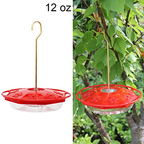 (Juegoal 12 oz Hanging Hummingbird Feeder with 8 Feeding Ports )