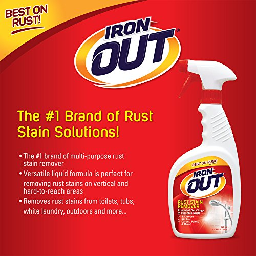 Iron OUT Spray Gel Rust Stain Remover, Remove and Prevent Rust Stains in Bathrooms, Kitchens, Appliances, Laundry, and Outdoors, white