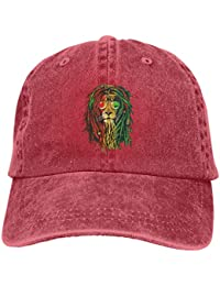 51d741933e6 Denim Fabric Adjustable Lion Rasta Hair Fashion Baseball Cap