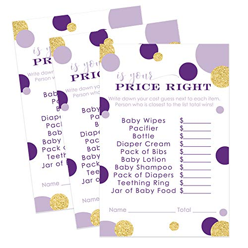 Paper Clever Party Purple and Gold Baby Shower Game Guess The Price - Pack of -