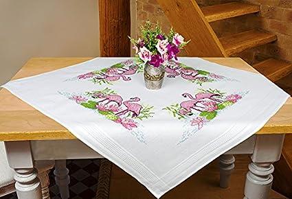 Kamaca Stickpackung Flamingos Kreuzstich vorgezeichnet aus 100% Baumwolle zum Selbersticken (Mitteldecke 80x80 cm)