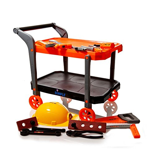 15 Piece Children's Toy Construction Worker Set, with Rolling Utility Trolley, Helmet & Tools Set Including Hammer, Hand Saw, Ruler, Screwdriver, Pliers, Wrenches, Screws, & Planks