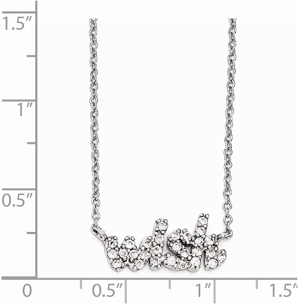 Cheryl M 925 Sterling Silver Cubic Zirconia Wish 18in 18 Inch Necklace
