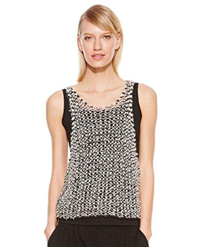 Jewel Neck Shell (Eileen Fisher Womens Crop Jewel Neck Shell B/W S)