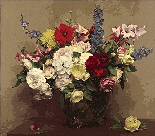 MailingArt Wooden Framed Paint By Number Flowers No Mixing / No Blending Canvas DIY Painting - Classical Flowers (C)