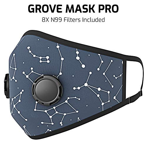 Grove Mask Pro Dust Mask - Reusable N99 Face Mask for Dust, Allergy, Pollution and Smoke Protection - Great for Woodworking, Construction, Cycling, Yard Work, Running and Sports