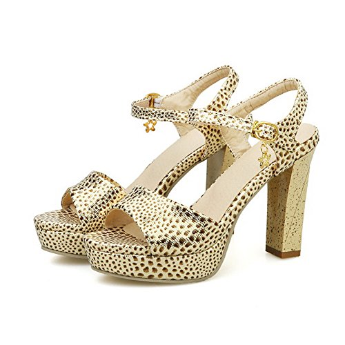 Amoonyfashion Donna Open Toe Tacchi Alti Materiali Morbidi Sandali Fibbia Color Oro