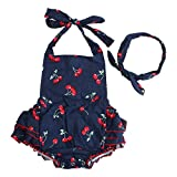 Slowera Baby Girls 2pcs Sets Summer Clothes Cotton Rose Flower Romper Dress with Hair Band (L:24Months, Navy Cherry)