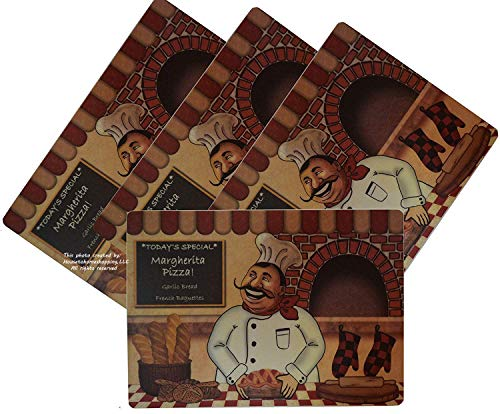 """Set 4. Rectangle Table Placemat W/Foam Backing.18 W X 12"""" H (Chef)"""