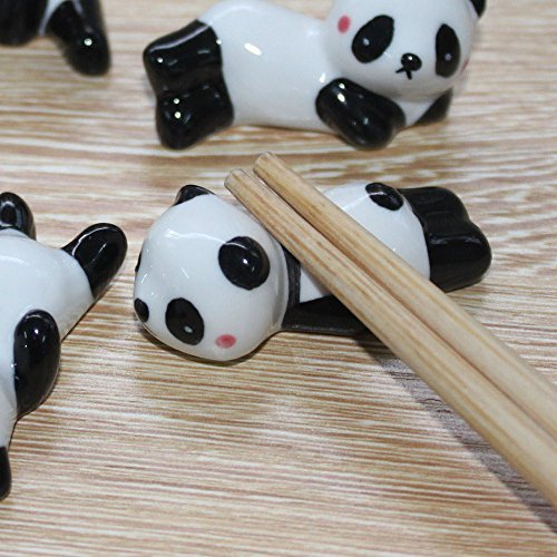 (VANVENE Ceramic Ware Cute Panda Chopsticks Stand Rest Rack Porcelain Spoon Fork Holder Home Decor, 5 pcs (Mix and Match))