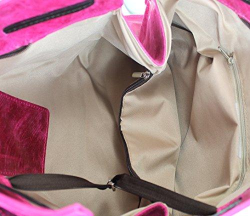 Tote In Italia 42x27x13cm Borsa Ctm Pelle Vera Made Bag 100 Fucsia Donna Vettore Wn4naS1