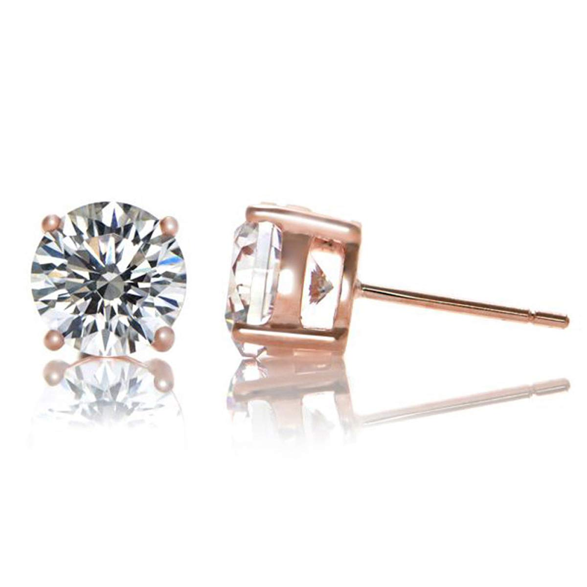 .925 Sterling Silver April Birthstone Cubic Zirconia Solitaire Stud Earrings