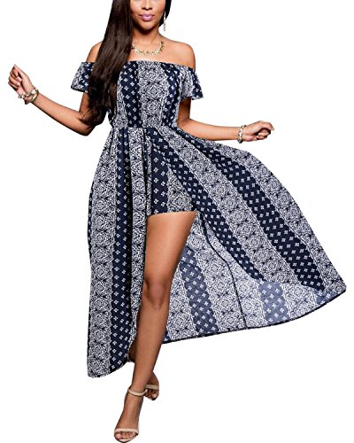 BIUBIU Women's Off Shoulder Floral Rayon Party Maxi Split Romper Dress Navy 2XL -