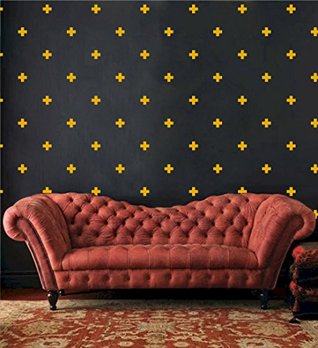Yellow Cross Pattern (Swiss Cross Pattern Wall Decals - Plus Sign Design Vinyl Bedroom Decor Sticker - DIY Home Decor [Set of 66] (Signal Yellow, 3x3 inches))