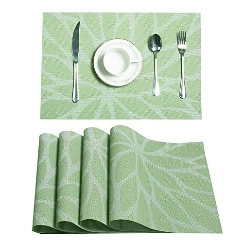HEBE Placemats, Heat-Resistant Placemats Stain Resistant Anti-Skid Washable PVC Table Mats Woven Vinyl Placemats, Set of 4(Green)