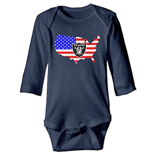 U9 6-24 Months Newborn Babys Boy's & Girl's Oakland Flag Logo Raiders Long Sleeve Bodysuit Outfits Navy Size 6 (Stop Sign Costume Halloween)