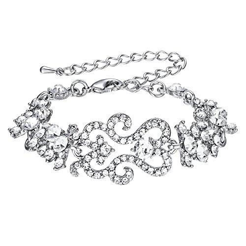 EVER FAITH Women's Crystal Bridal Flower Cluster Wave Adjustable Link Bracelet Clear ()