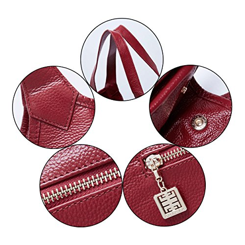 Rouge Bandoulière Sacs Mode En Main Vin Grand Femmes Les Sac À Dames Véritable tout Fourre Cuir Pour Boyatu 74qTFF