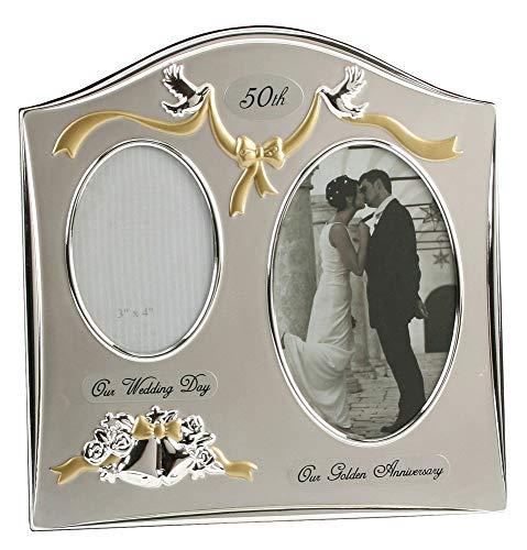 Haysom Interiors Two Tone Silver Plated 50th Golden Anniversary Double Picture Frame by Happy Homewares