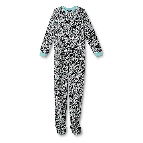 Joe Boxer Girls' Footed Sleeper Pajamas - Leopard XS 4