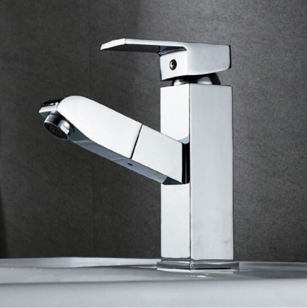 Copper Quartet Faucet Hot and Cold Bathroom Cabinet Basin Single Cold Retractable Washbasin Faucet