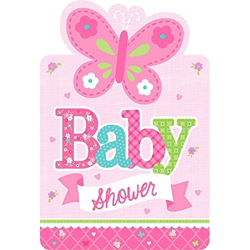amscan Appealing Welcome Little One Girl Postcard Invitations Baby Shower Party Supplies, 4-1/4 x 6-1/4