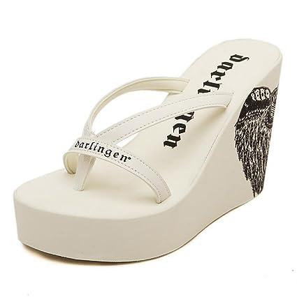13e9de6a3fde2 Amazon.com: SHANGXIAN Women's Flip Flops Wedge Sandals Clip Toe High ...