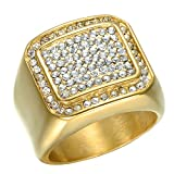 Beeido Square Ring IP Gold Filled Titanium Stainless Steel Rings For Men Jewelry