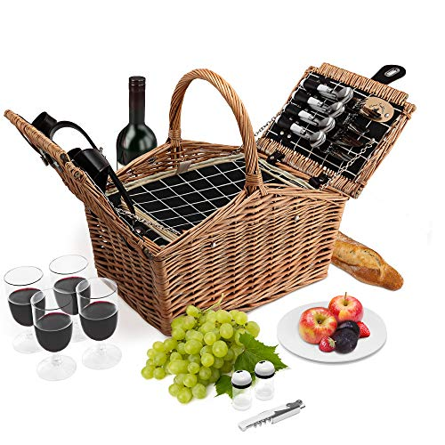 - Wicker Picnic Basket | 4 Person Deluxe Double Lid Style Woven Willow Picnic Hamper | Built-in Cooler | Ceramic Plates, Stainless Steel Silverware, Wine Glasses, S/P Shakers, Bottle Opener (Natural)